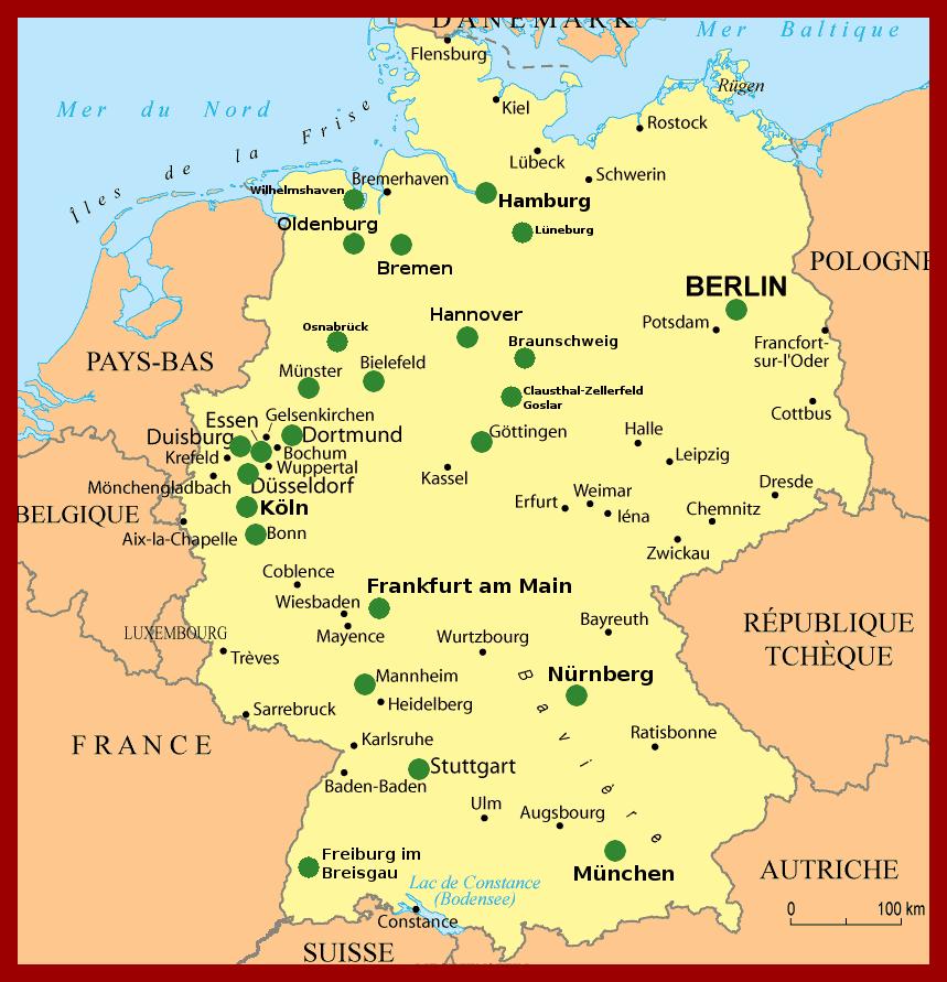 Carte De L Allemagne Et Nom De Ville
